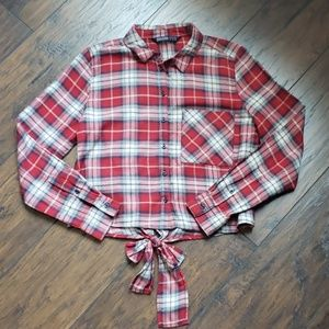 Zara Cropped Red Plaid Button Down Size S